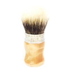 The Paragon shaving brush by saponificio varesino, wood handle (curly poplar), pewter crown, high mountain white badger knot