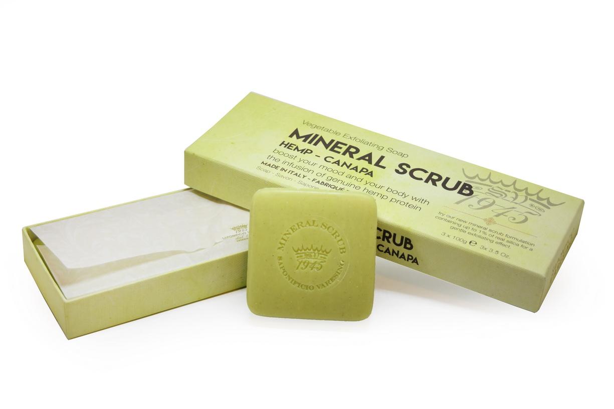 Mineral Scrub Hemp Soap Gift Set Cont 3x100grams Soap Bars Saponificio Varesino Online Store